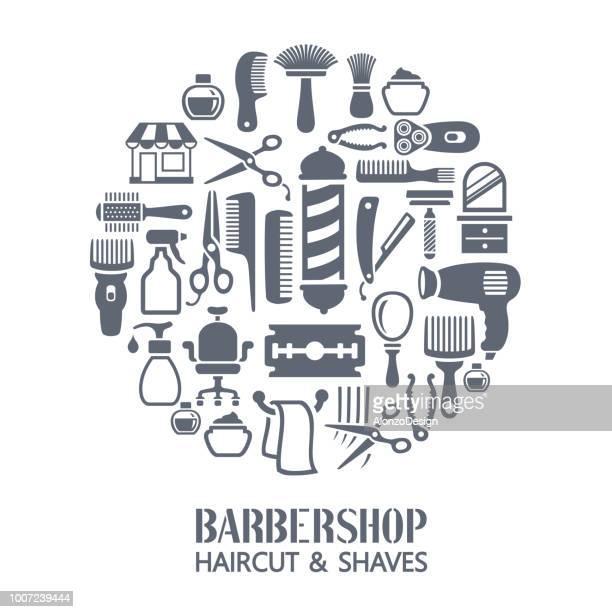 バーバー ショップ コラージュ - 美容師点のイラスト素材/クリップアート素材/マンガ素材/アイコン素材