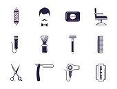 Barber Shop Elements. Set flat line vector icons