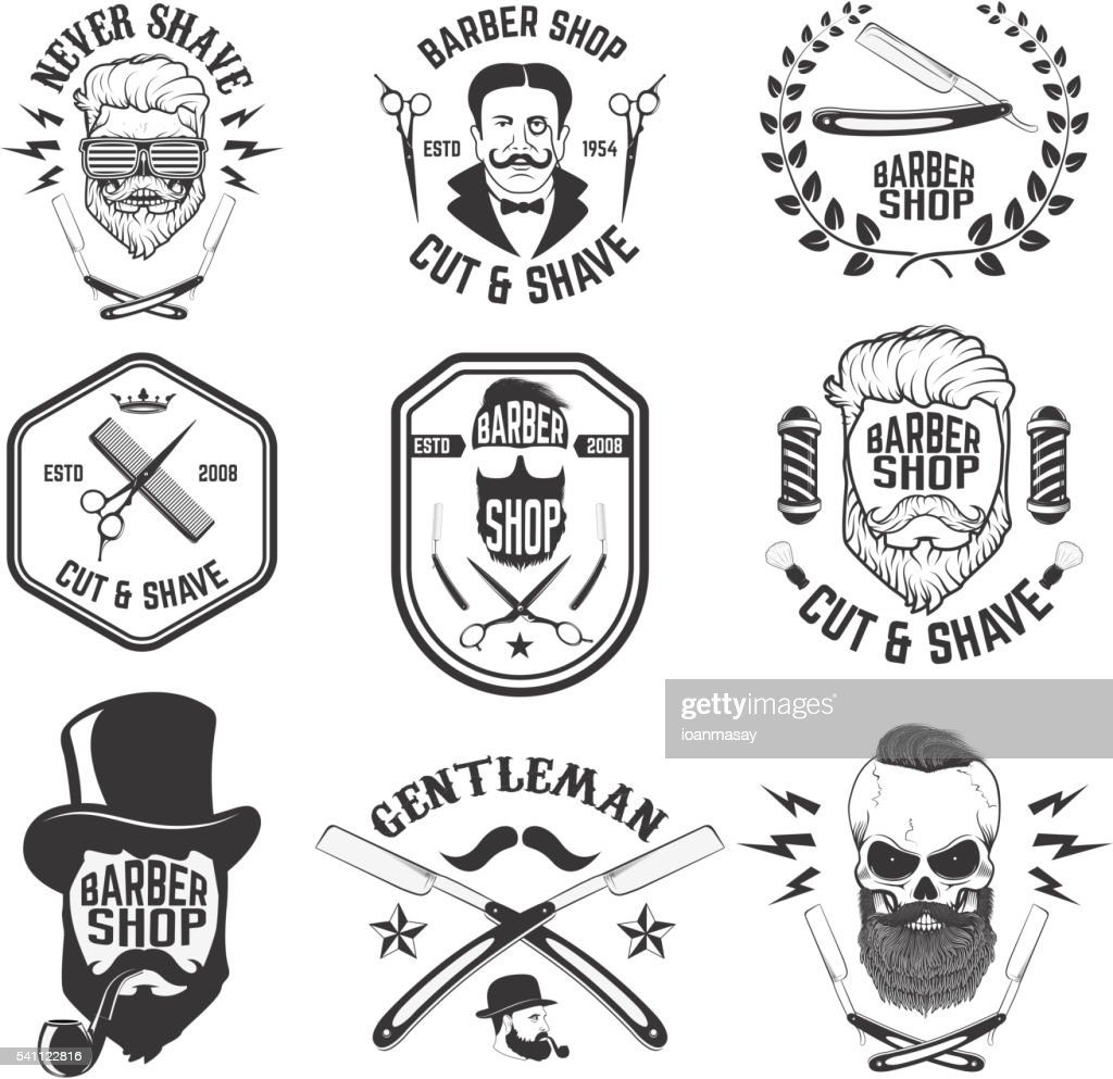 Barber shop emblems. Set of the barber tools.