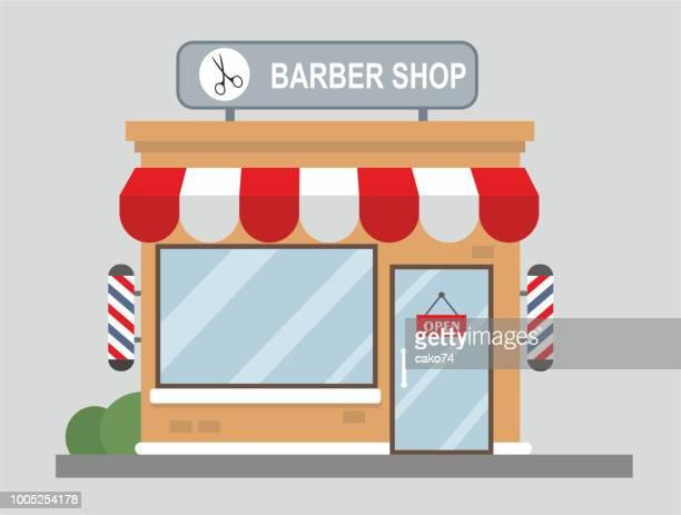 Diseño plano de vista frontal de la tienda del peluquero