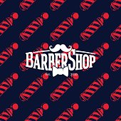 Barber shop icon on seamless pattern with barber poles, vector illustration