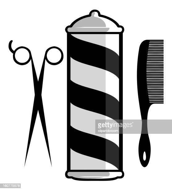 barber shop icons - barber pole stock illustrations