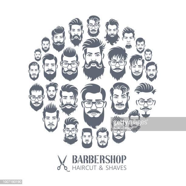barber shop montage - beard stock illustrations, clip art, cartoons, & icons