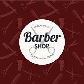 Barber Shop or Hairdresser background set with hairdressing scissors, shaving