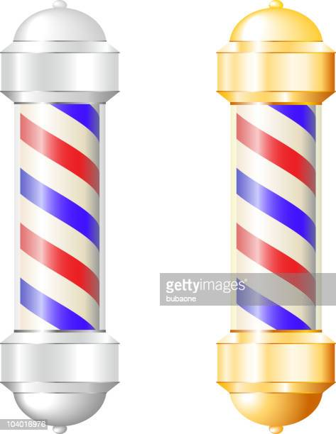barber shop pole in metalic silver and brass gold - barber pole stock illustrations