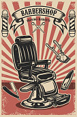 Barber shop poster template. Barber chair and tools on grunge background
