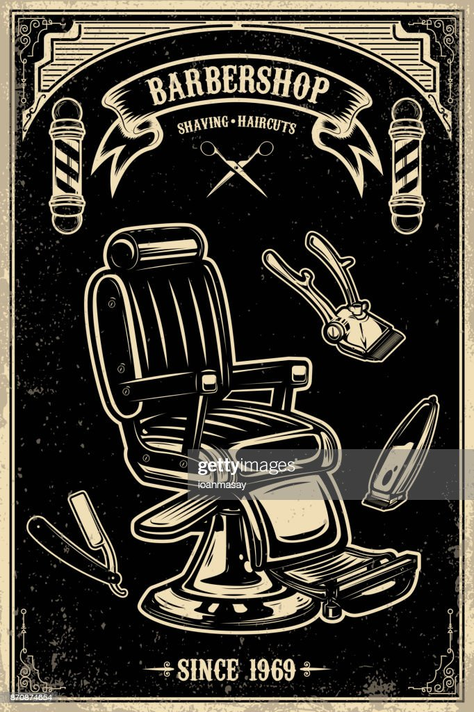 Barber shop poster template. Barber chair and tools on grunge background.