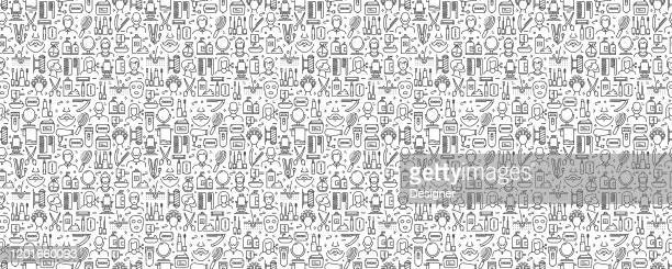 illustrations, cliparts, dessins animés et icônes de barber shop related seamless pattern and background with line icons - ciseaux de coiffeur