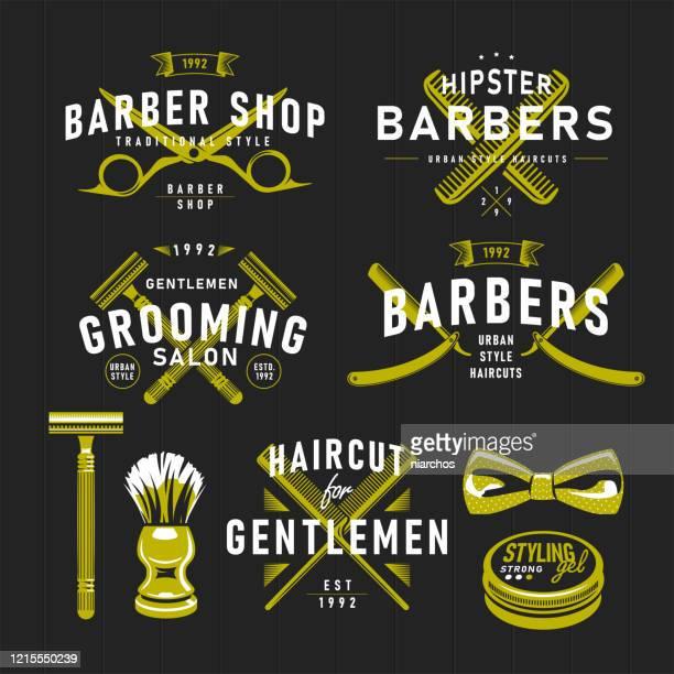 barber shop retro emblems. - barber shop stock illustrations