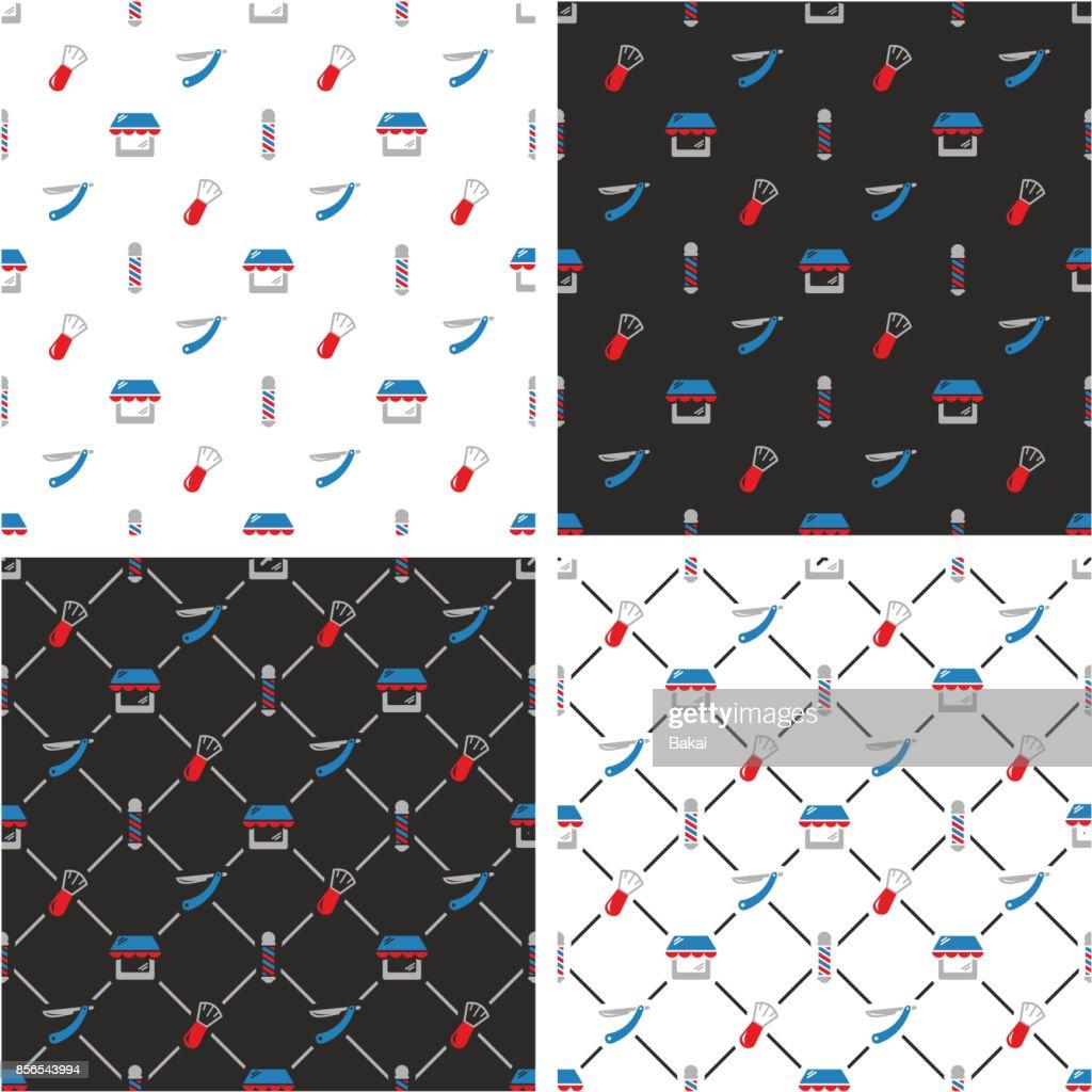 Barber Shop Seamless Pattern Color Set