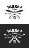 Barber shop sign, label. Black and White. Barber shop logo with barbershop razor. Vintage poster. Retro print for typography. Vector template.