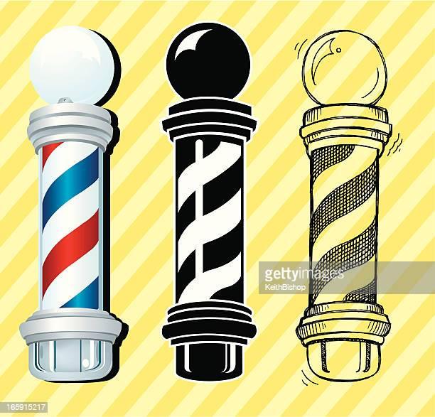 barber shop sign or pole - barber pole stock illustrations
