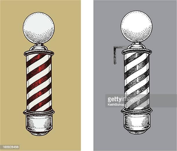 barber shop sign - barber pole stock illustrations