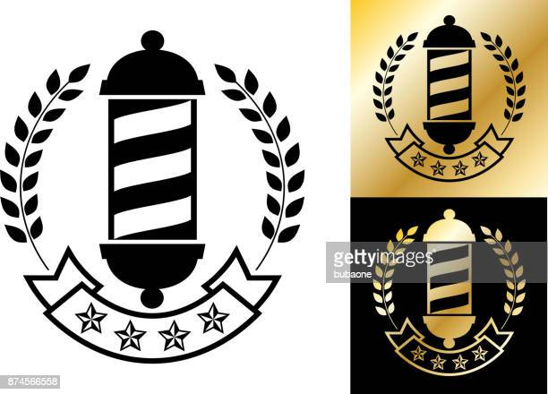 barber shop small business store badge. - barber pole stock illustrations