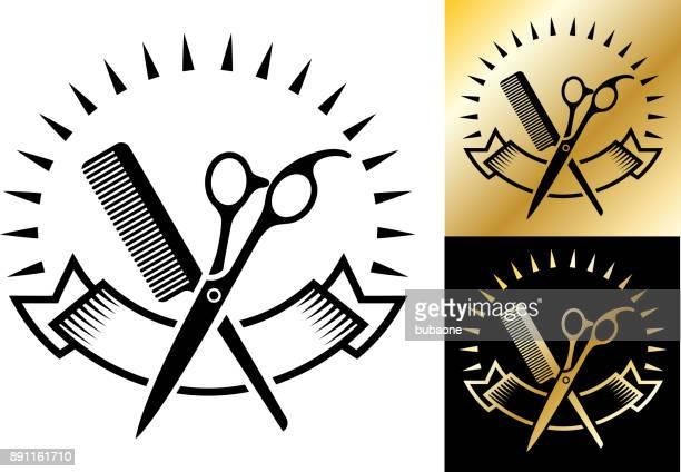 illustrations, cliparts, dessins animés et icônes de insigne de magasin barber shop aux petites entreprises. - ciseaux de coiffeur