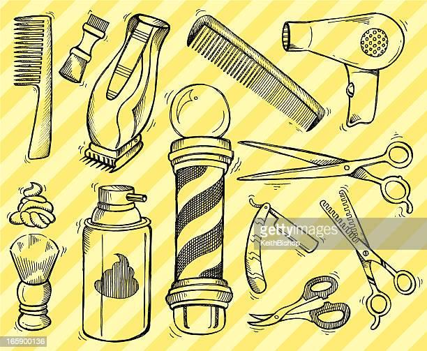barber shop tools and equipment - doodles - barber pole stock illustrations