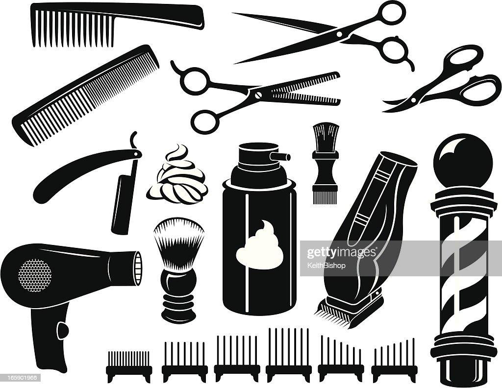 Barber Shop Tools And Equipment Scissors Comb Vector Art ...