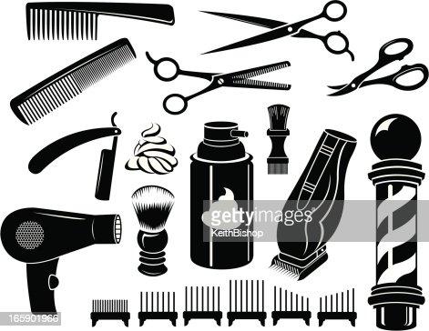 Barber Shop Tools And Equipment Scissors Comb Vector Art