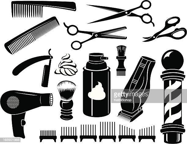 barber shop tools and equipment - scissors, comb - barber pole stock illustrations