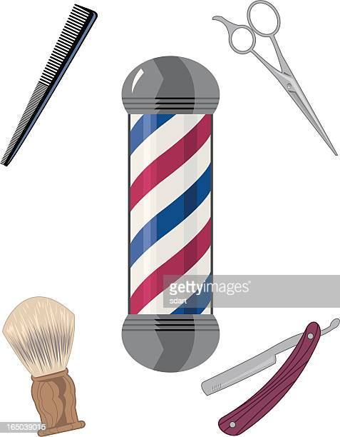 barber shop - barber pole stock illustrations