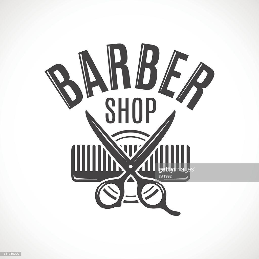 Barber shop vector vintage logo, label, badge or emblem