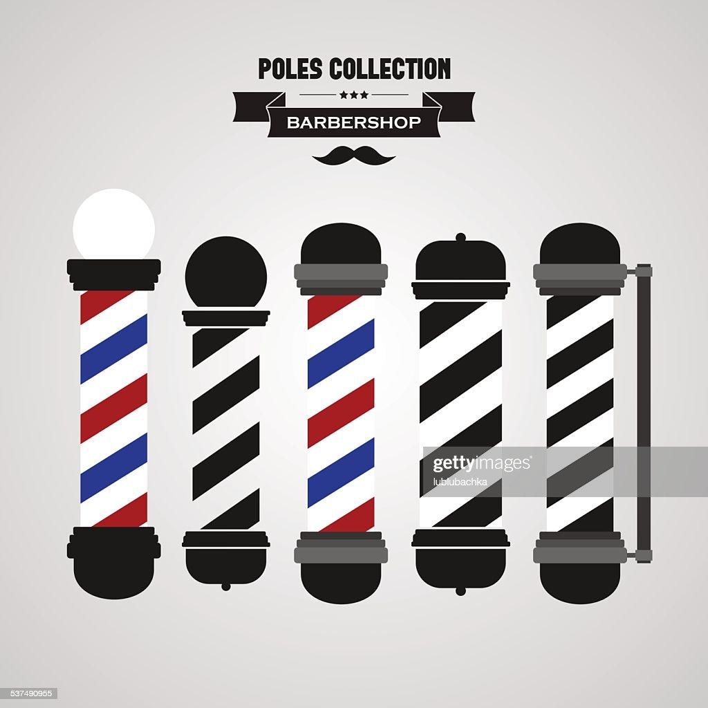 Barber shop vintage pole icons set