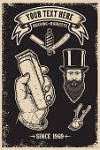 Barber shop vintage poster template. Design element for poster, emblem, sign, t shirt.