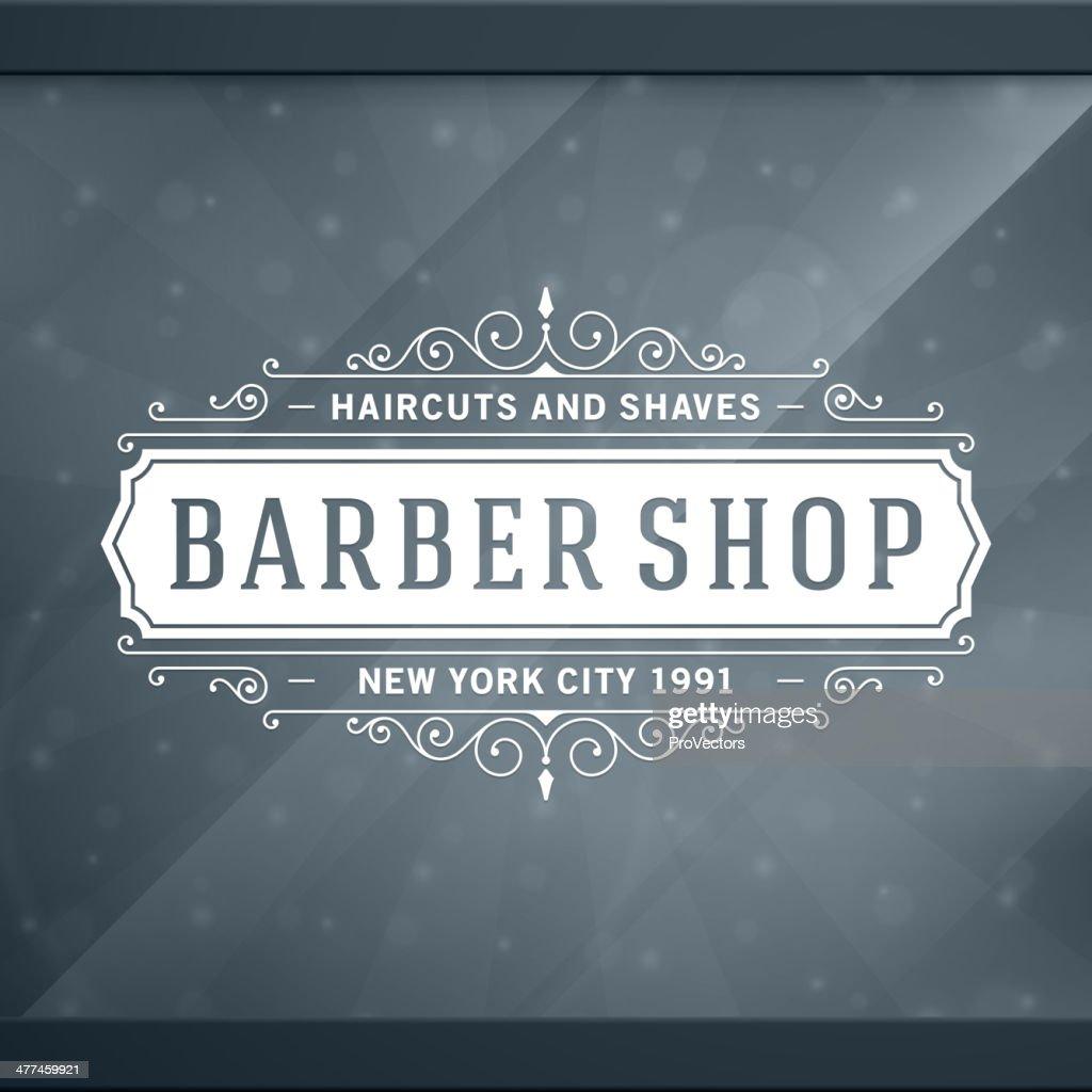 Barber shop vintage retro vector typographic