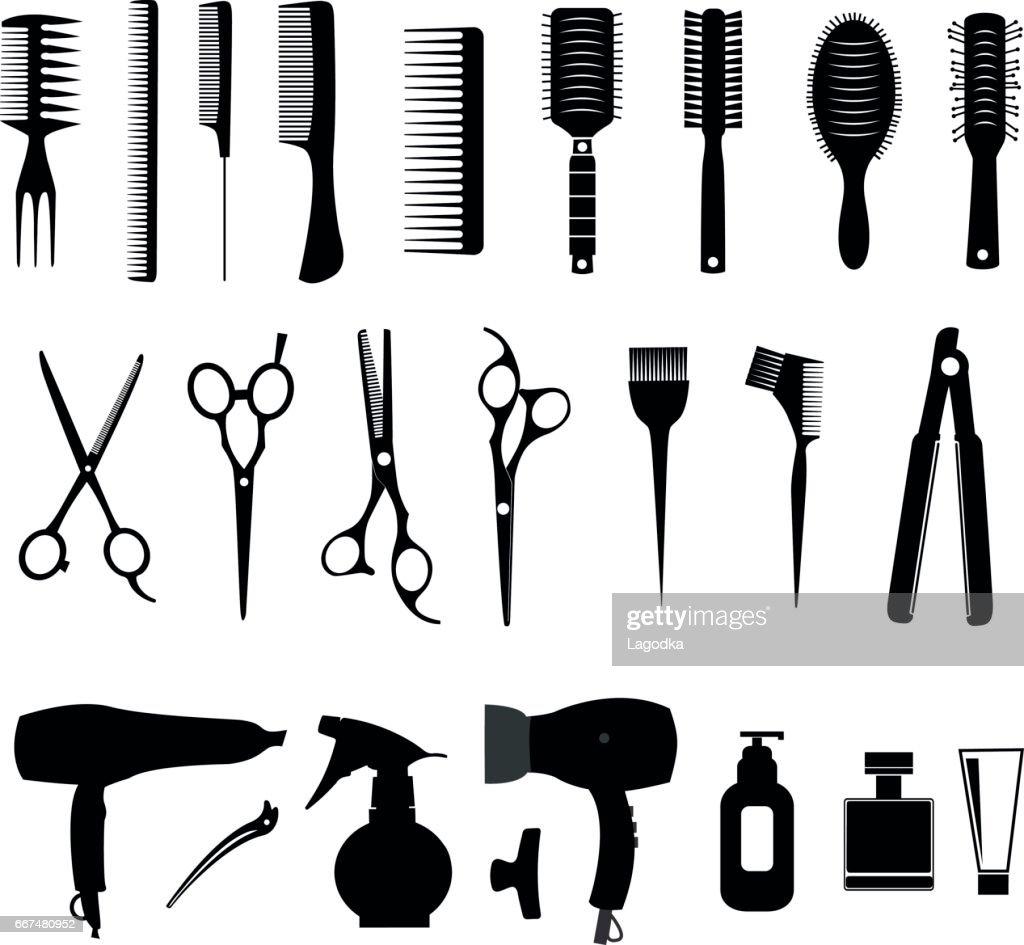 Barber tools and haircut icons set
