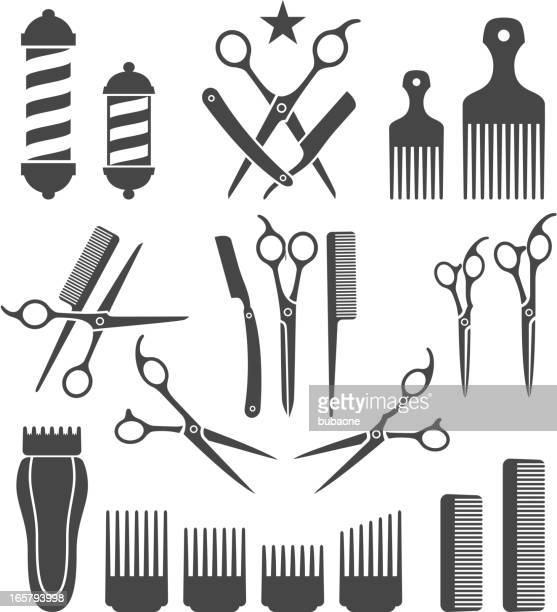 barber tools for haircut black and white vector icon set - scissors stock illustrations