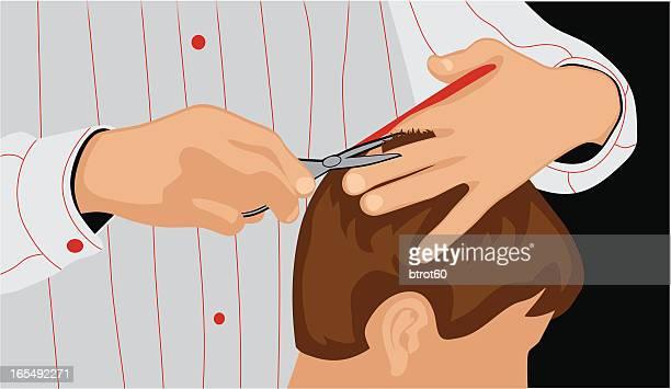 ilustrações de stock, clip art, desenhos animados e ícones de barbeiro - cortar cabelo