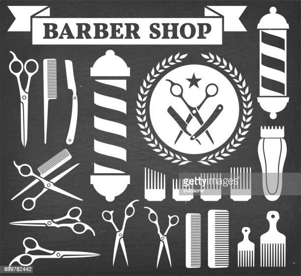 barbershop barber tools for haircut vector icon set - barber pole stock illustrations