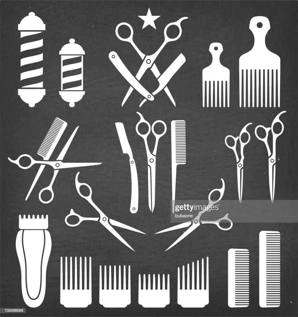 Barbershop Barber Tools for Haircut vector icon set