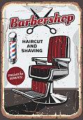 Barbershop chair and scissors, retro vector