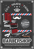 Barbershop chair and shave razor retro poster
