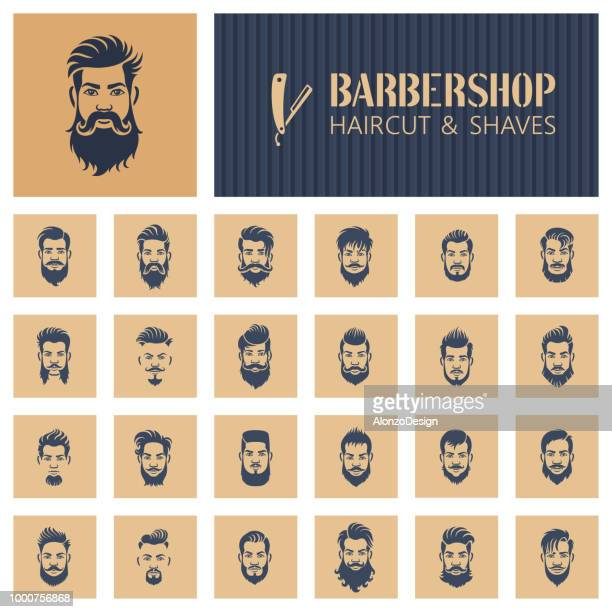 barbershop icons - beard stock illustrations