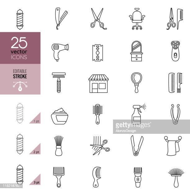 理髪店ラインアートのアイコンセット。編集可能なストローク。 - 美容師点のイラスト素材/クリップアート素材/マンガ素材/アイコン素材