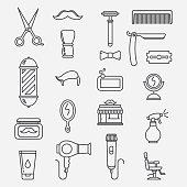 Barbershop lineart icons
