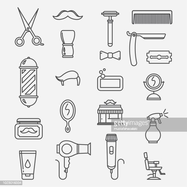 Barbershop lineart icons