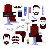 Barbershop mens salon icons and vector design elements. Barber, shaving and hairdresser vintage tools and equipment