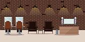Barbershop modern loft interior, vector flat illustration. Reception desk and barber workplace design elements