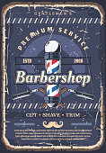 Barbershop pole, barber razor and mustache