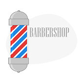 Barbershop pole in flat style on a white background
