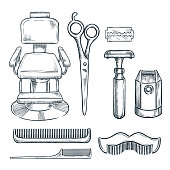 Barbershop vintage tools vector sketch illustration. Hand drawn icons and design elements for mens barber shop
