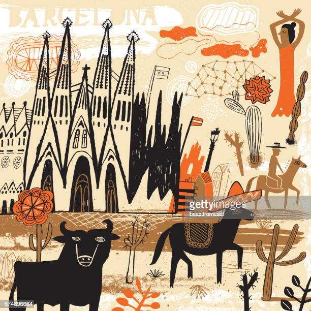barcelona in spain - sombrero stock illustrations