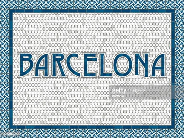 barcelona old fashioned mosaic tile typography - barcelona stock illustrations, clip art, cartoons, & icons