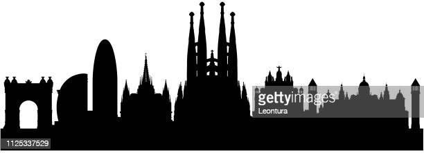barcelona skyline (all buildings are complete and moveable) - barcelona spain stock illustrations