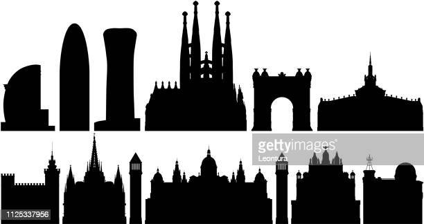 barcelona skyline (all buildings are complete and moveable) - barcelona stock illustrations, clip art, cartoons, & icons