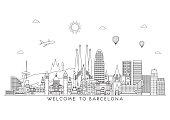 Barcelona skyline. Vector line illustration. Line style design