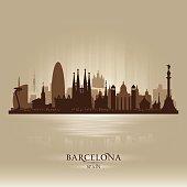 Barcelona Spain city skyline silhouette